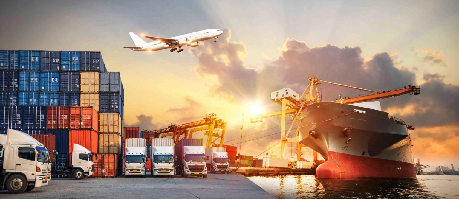 Logistik und Transport von Containern, LKWs,Schiff und Flugzeug